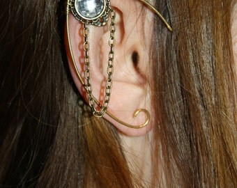 golden elven ear  - ear cuff - elvish earring - elf ear - CLEAR