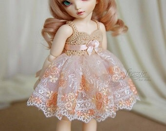 Peach dress for TINY bjd LittleFee