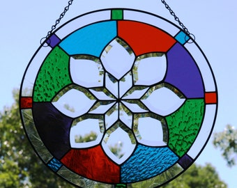 Clear Beveled Stained Glass Flower with Orange Purple Turquoise Green Border Panel