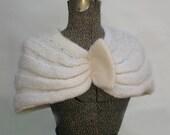 Vintage 1950s Shawl, 50s Shawl, 50s Shrug, White Knit, Caplet, Jacket, S M, small medium, 1940s shrug, 40s shrug, 40s shawl, 40s caplet