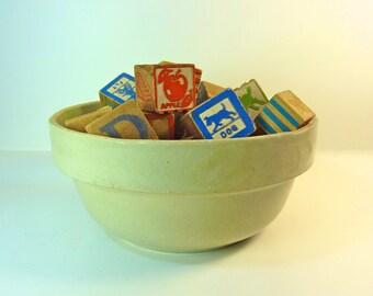 Vintage Stoneware White Large Bowl Patina Fruit Bowl Dinning Table Home Decor Decorative