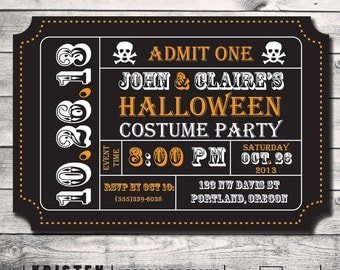 Halloween Party Invitation- DIY- Digital File- Printable- Admission Movie Ticket- Carnival Ticket Invitation
