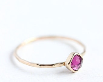 14k gold & rose cut rhodolite garnet stack ring, january birthstone, thin gold ring, pink gemstone, cushion cut, size 4 to 9