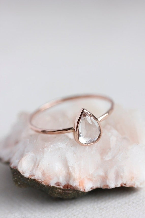 White topaz pear cut engagement ring rose gold yellow gold