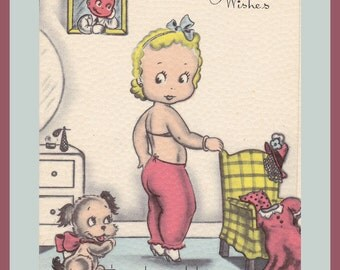 Get Well Wishes- 1950s Vintage Card- Long Underwear- Kitschy Cute- Original Old- Funny Comic- 50s Style Decor- Paper Ephemera