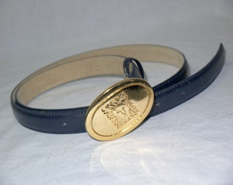 Out of Africa ... Vintage 80s Anne Klein belt / 1980s navy leather / baroque lion head medallion / thin skinny high waist .. M L 32 34 36