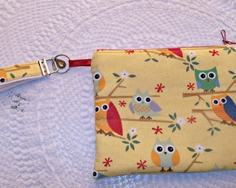 OWLS wristlet purse cosmetic pouch zippered bag with key fob makeup bag
