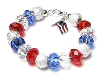 4th of July Bracelet, Red White and Blue Silver Finish Beaded American Flag Charm Bracelet, Memorial, Patriotic Fourth, Military Mom Jewelry