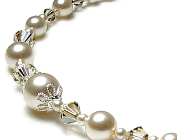 Cream Chiffon Swarovski Pearl and Crystal Wedding Necklace, Ivory Pearl Wedding Necklace, Swarovski Pearl Necklace, Pearl Wedding Jewelry
