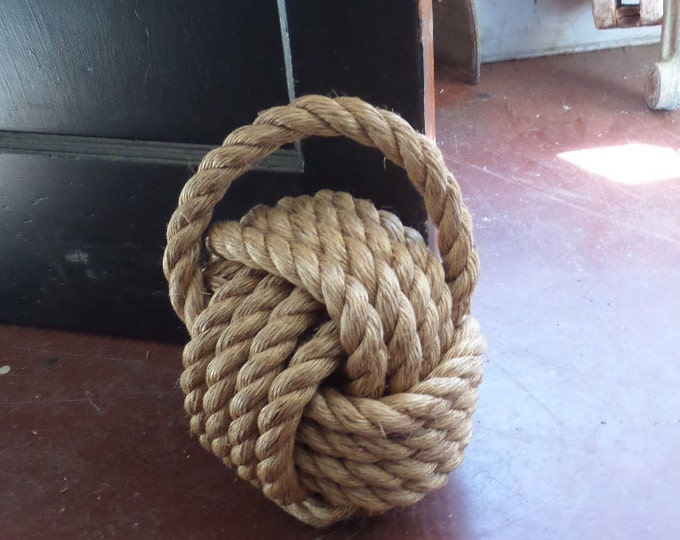 Knotted Monkey Fist Rope X-Large Door Stop 10 inches Manila Brown