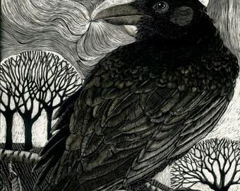 Raven Moon Art Print reproduction from original Scraperboard
