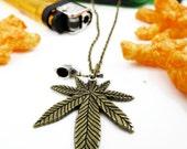 Mary Jane Goes to Washington Marijuana Necklace Pothead Jewelry