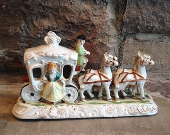 Ucagco Horse Carriage Stage Coach Buggy Vintage Stagecoach Figurine - #2256