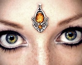 Firefly Bindi, tribal fusion bellydance, bollywood, gypsy costume, smokey amber, silver, wicca, fairy, fantasy jewelry, forehead jewelry