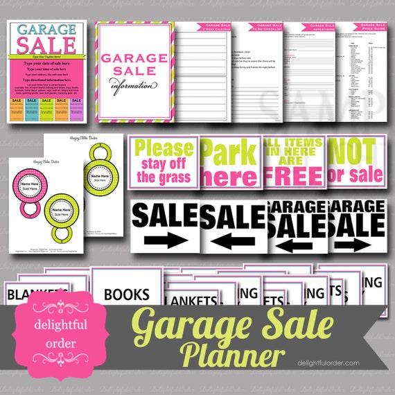 Garage Sale  Printable Bundle Pack - (37 pages) PDF Printable Files - Instant Digital Download