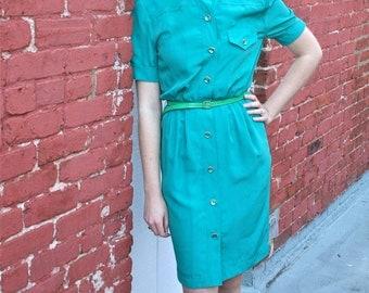 1980s Teal Shirtdress with Tulip Skirt