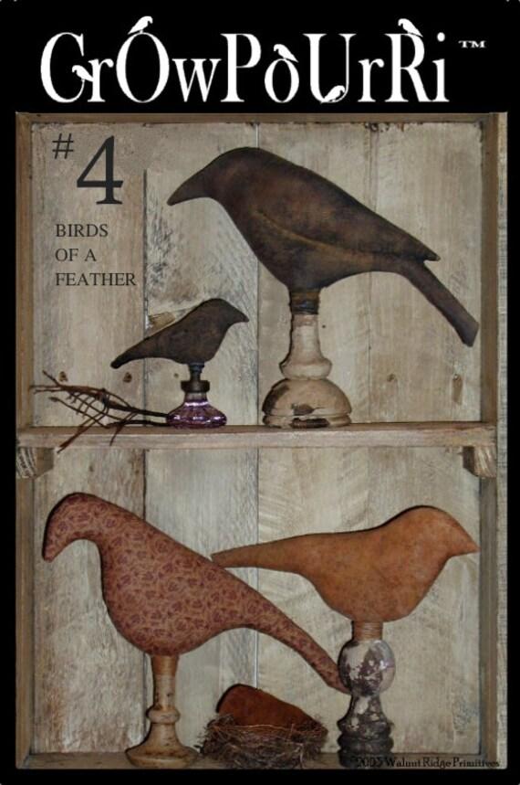 Primitive E Pattern 4 Birds Crows Sewing Pattern Crowpourri 4