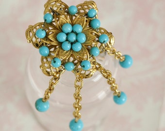 Vintage Gold Tone and Turquoise Beaded Brooch