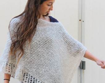 Gray  Poncho with a touches of shiny made from soft mohair knitted Poncho Knit Lace Shawl Hand Knit Wrap