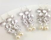 10% OFF Set of 8 Pairs Triple Orchid Swarovski Pearl Matt Silver Flower Bridesmaids Dangle Earrings White Cream Rosaline Light Grey Pearls