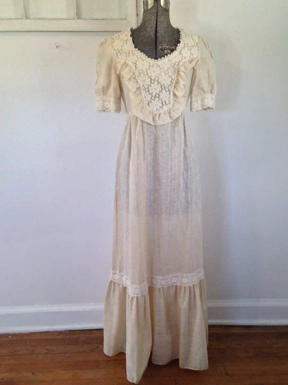 Cream Lace And Linen Maxi Dress Wedding By Sentimentalhvintage