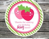 Set of 12 Personalized Favor Tags -Strawberry Girl -Thank You Tag -Gift Tag -Baby Shower -Birthday-Sticker -Strawberries