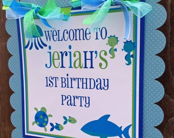 Blue Sea Collection: Door Sign, Party Sign, Hanging Sign -Sea Animals -Baby Shower -Birthday