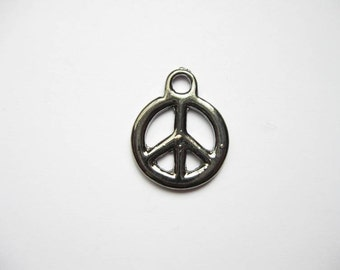 Sale - 10 Peace Sign Charms in Dark Silver - C1903