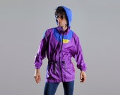 vintage hooded windbreaker 80s 90s vintage unisex nylon jacket purple warm up hood Head Color Fusion small medium Lucky 7