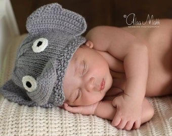 Newborn photo prop, elephant newborn/ baby hat, Newborn boy, Newborn girl, Newborn hat, Newborn, baby hat, newborn knit hat, newborn props