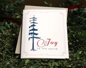 Blue Pine - Modern Christmas Cards, Joy to the World Holiday Card, Taupe Envelopes, Printed on Ivory Speckled Paper - 10 Pack