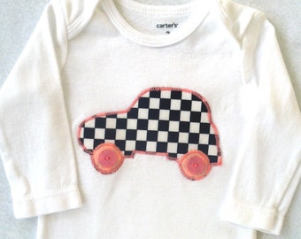 Race Car Bodysuit / Pink / Baby Girl / Personalization available