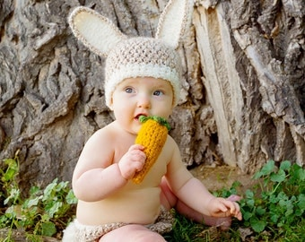 Baby Carrot Rattle for Easter or Halloween--Great Crocheted Photo Prop for your Bunny