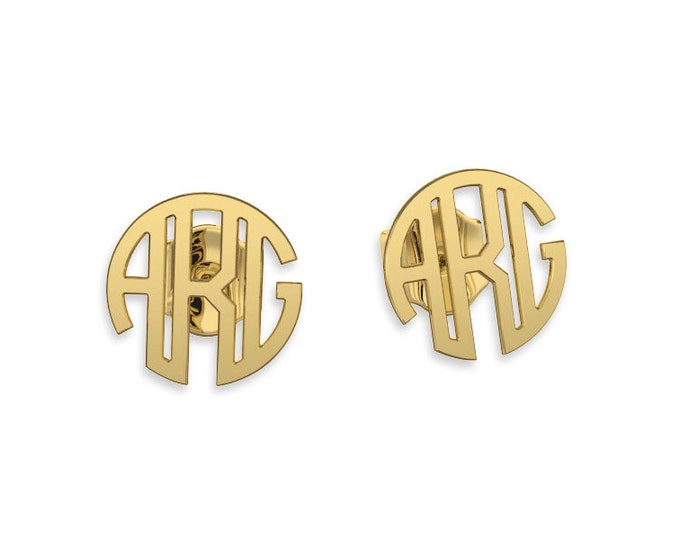 Monogram earrings- Gold 14K or 9ct Personalized Name Earrings, gifts for bridesmaids, bridesmaid earrings