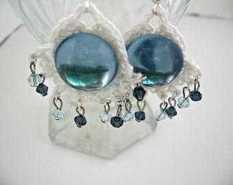 Crochet Earrings, Crystal Dangle Earrings, Swarovski Crystals, Turquoise Earrings