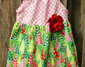 Pink and Green Christmas Nelle- size 4T only!  Ready to ship!