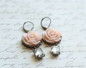 Blush Bridesmaid Earrings - Rose Earrings - Pick Your Rose Color - Estate Earrings -Flower Girl Earrings - Blush Wedding - Choose Rose Color