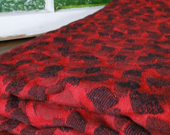 Heavy Red and Black Geometric Vintage Fabric - One Yard