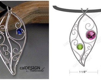 """Artisan Made Personalized Filigree """"Leaf"""" Pendant - Mother's Pendant - Loved Ones Pendant - Sterling - Custom - Birthstone - Mother's Day"""