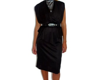 Vintage Black Dress, 70s Disco Dress, Little Black Dress, Black and Silver Dress, Size Small - Medium S M