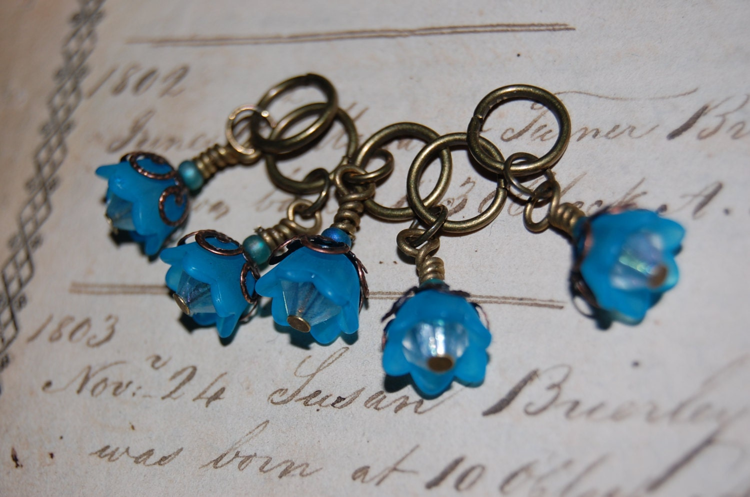 Knitting Markers Etsy : Star bell victorian stitch markers from beyondbrass on