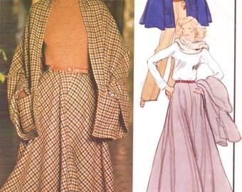 1970s Lanvin Womens Cape, Four Gore Skirt & Wide Legged Pants Vogue Paris Original Sewing Pattern 1176 Size 14 Bust 36 UnCut