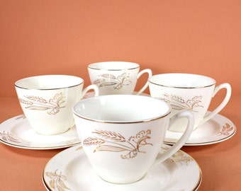 1950's Gold Leaf Prairie Gold Wheat Teacups and Saucers  (Set of 4)