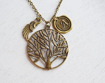 tree necklace, initial necklace, angel wing necklace, guardian angel, family tree, long tree of life, gift for her, mother's gift, keepsake
