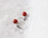 Short sterling silver 925 earrings with red coral. Oxidized. Romantic, feminine. Red, wine, retro, rose, flowers, garden