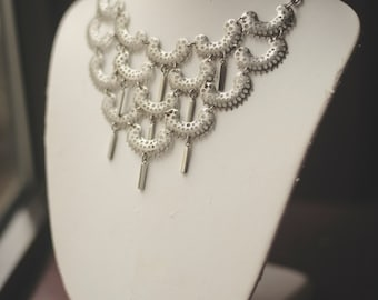 Sarah Coventry Silver Tone Bib Statement Necklace