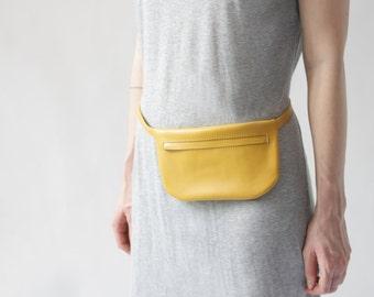 Flat Leather Belt Bag Mustard Yellow, fanny pack, small yellow hip bag, i phone bag