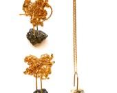 Shining Rock Necklace - Pyrite in Quartz Pendant