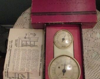 RARE Vintage Thermometer Wall Outdoor Indoor  Tel-Tru Original Box By Germanow-Simon Co