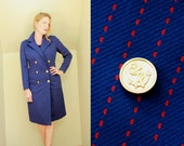 60s - Mod - Vintage - Nautical - Sailor - Navy Blue & Red Stripe - Gold Anchor - Button Up - Womens Jacket - Pea Coat